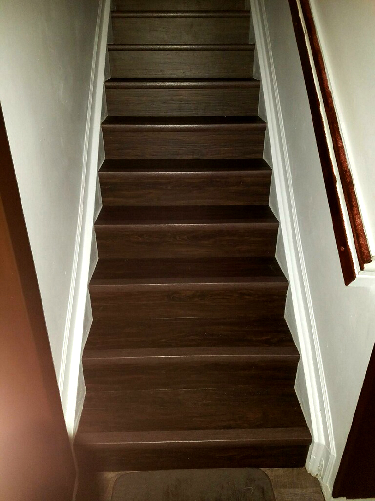 Oak Look Vinyl Staircase · Refinished Stairs